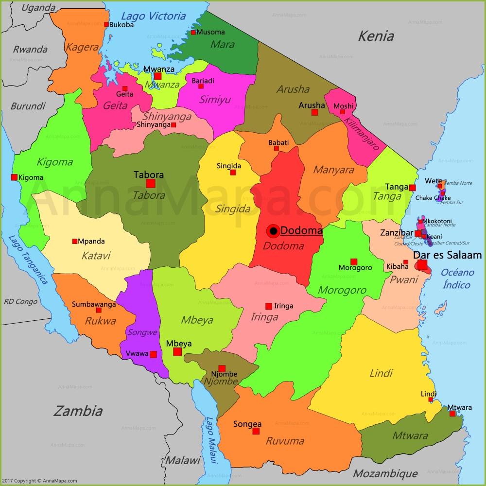 Resultado de imagen de MAPA DE TANZANIA