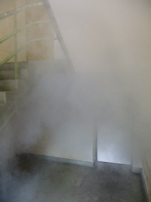 Indiscernability1 Installation image Smoke machine, Fluro light and polyprolene