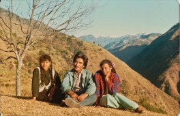 Chitwan Cultural Family in Rolpa, 1992. Left to right - Barsha Gajmer, Khusiram Pakhrin, Sharada Shrestha.