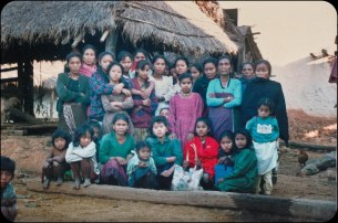 """Samana Cultural Family members with locals in Makwanpur, sometime after the start of the """"People's War"""" in 1996."""