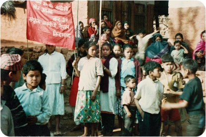 Gorkha, 1992. Bottom of sign: Long live United People's Front Nepal.