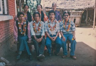 Pakhrin siblings. Women left to right: Parvati, Aitimaya, Dewanti. Men left to right: Ranabhir, Khusiram, Balbir, Jangabir. Early 1990s.