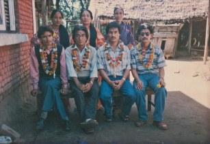 Pakhrin siblings. Women left to right: Parvati, Aitimaya, Dewanti. Men left to right: Ranabhir, Khusiram, Balbir, Jangabir. Early 1990s.