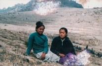 Bandana Pun Magar, Elina Thapa Magar, main artists of Pratirodh Cultural Family. Place and date unknown; during People's War.
