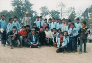 Khusiram Pakhrin with locals in Sindhupalchowk Pangtang, his grandfather's hometown from which he moved to Gorkha district in 1910.