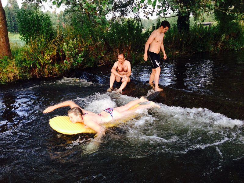 Camping mat surfing, 6.30am Eynsford.
