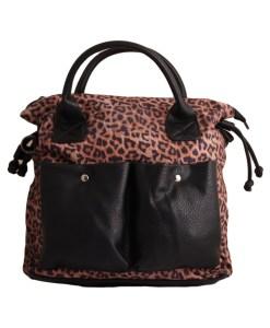 Дамска чанта 01-17-166-7 тигров принт и акценти в черно
