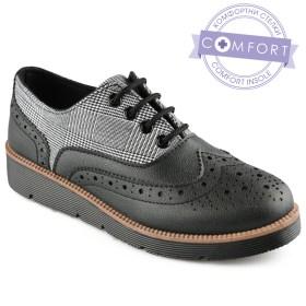 Дамски обувки 086-2 цвят черен с бяло каре каре