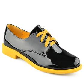 Дамски обувки 086-3 черен лак с жълти акценти