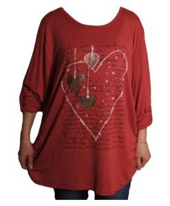 Дамска макси блуза XL 119-262-56 със сърца цвят теракота