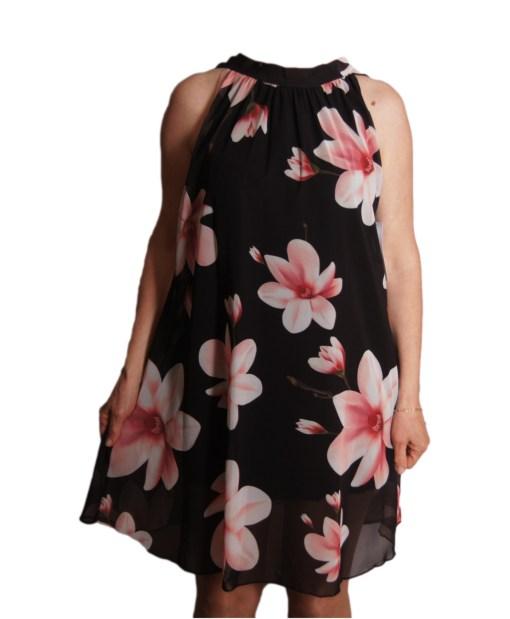 Дамска рокля 018-314-5 черна на цветя