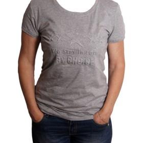 Дамска блуза 0019-571-72 цвят сив с релефна звезда