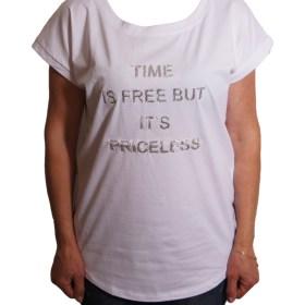 Дамска блуза 0019-570-63 цвят бял с надписи