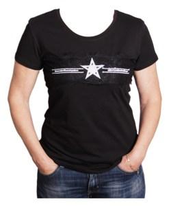 Дамска блуза 0019-571-51 цвят черен със звезда