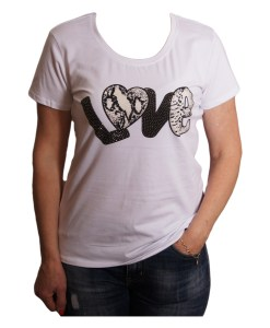 Дамска блуза 0019-571-52 цвят бял с надпис
