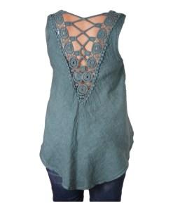 Дамска блуза 0019-566-4 цвят зелен с дантелен гръб