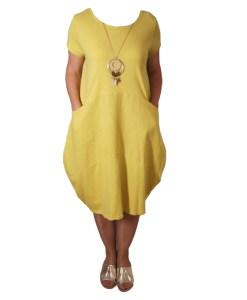 Дамска спортна рокля 018-310-4 с вътрешни джобчета цвят горчица