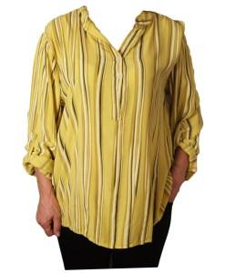 Дамска блуза XL 119-257-5 райе в жълто