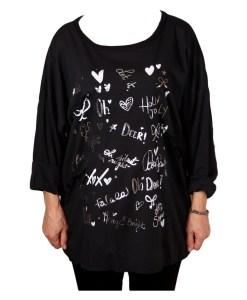 Дамска блуза XL 119-257-54 цвят черен с надписи