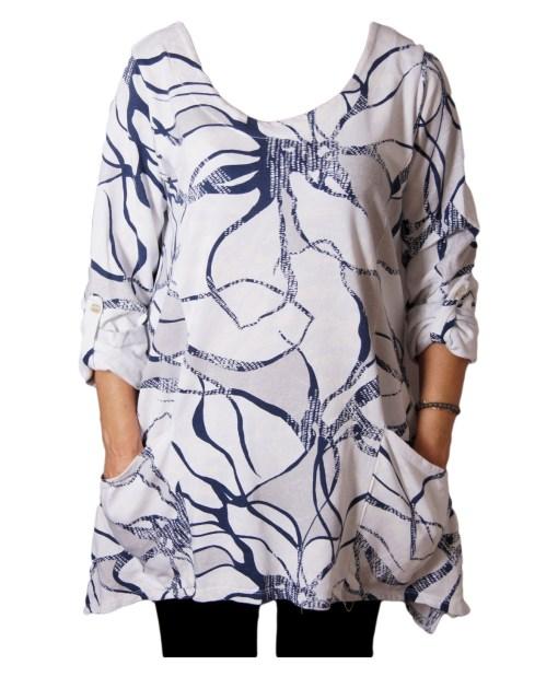 Дамска блуза XL 119-257-66 тип туника в бяло