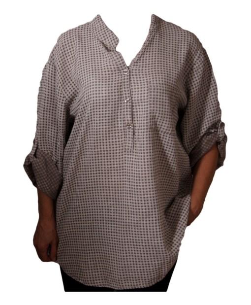 Дамска блуза XL 119-257-63 бежова на малки квадратчета