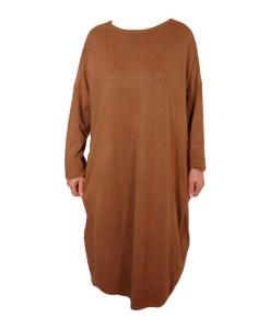 Дамска рокля XL 18-191-82 цвят кафяв