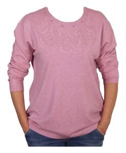 Дамски пуловер XL 2-398-10 с перли цвят розов