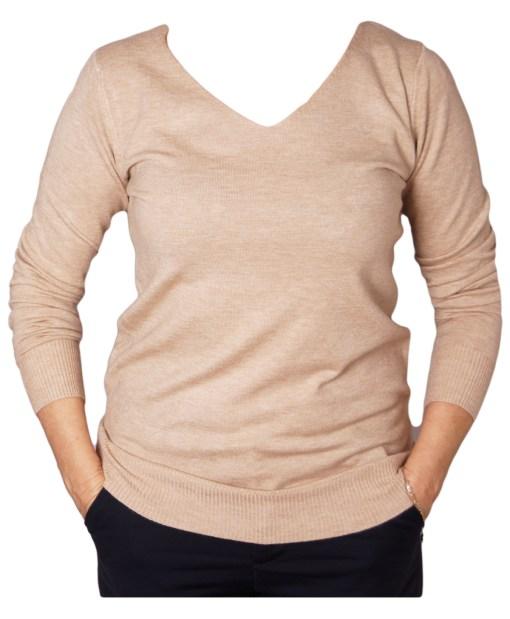 Дамски пуловер 2-395-13 цвят бежов