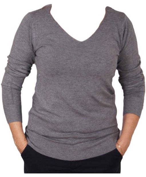 Дамски пуловер 2-395-18 цвят сив