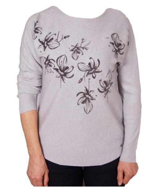 Дамски пуловер 2-394-62 цвят сив