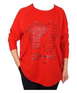 Дамски пуловер XL 2-396-11 цвят червен