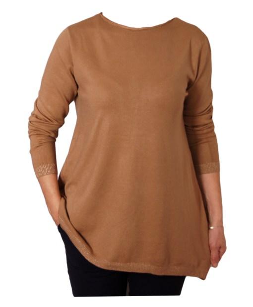 Дамски пуловер 2-393-5 цвят бежов