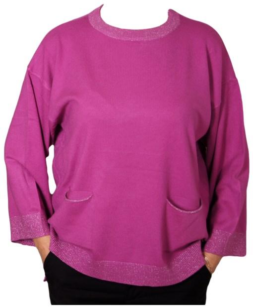 Дамски пуловер XL 2-395-27цвят лилав