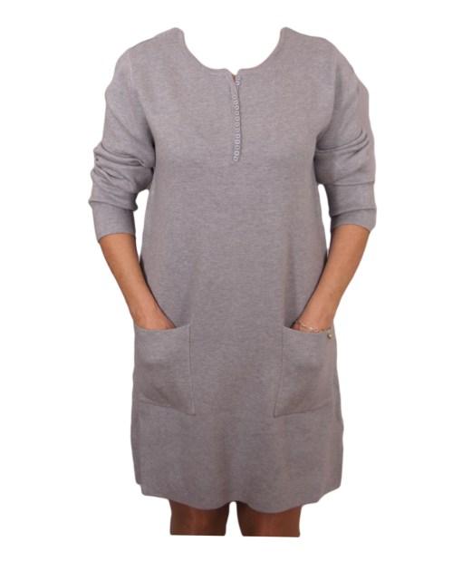 Дамска рокля 017-199-16 цвят сив