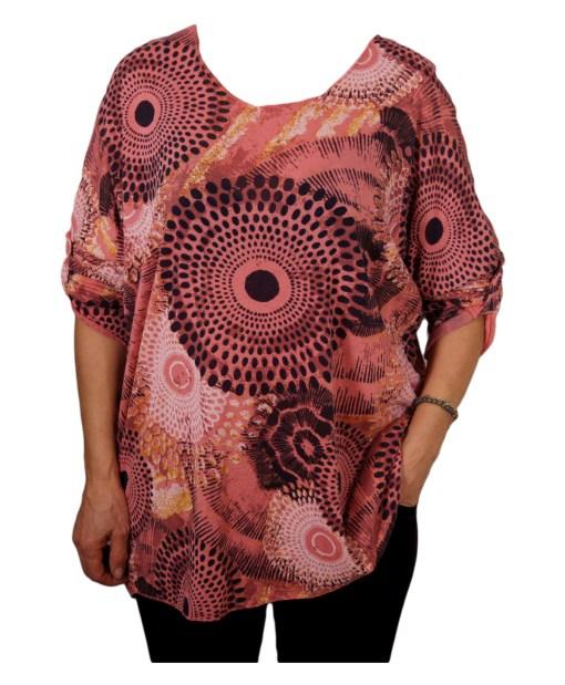 Дамска блуза XL 119-256-2 цвят теракота на кръгове