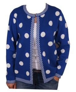 Дамска жилетка 20-100-6 на точки цвят син