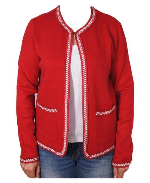 Дамска жилетка 20-100-70 цвят червен с лъскав ширит