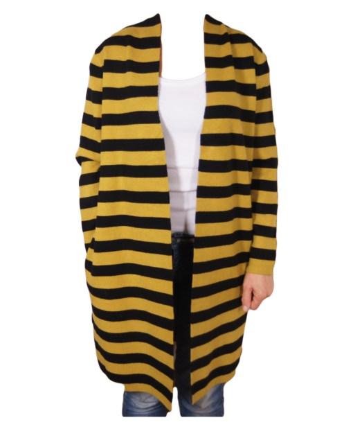 Дамска жилетка 20-101-6 жълто и черно