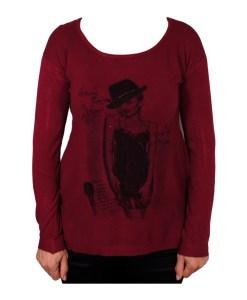 Дамски пуловер 2-400-55 с момиче цвят бордо