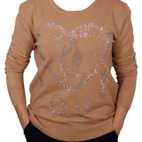 Дамски пуловер 2-390-63 цвят охра