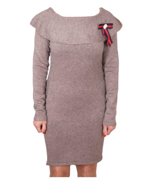 Дамска рокля 017-195-1 цвят бежов