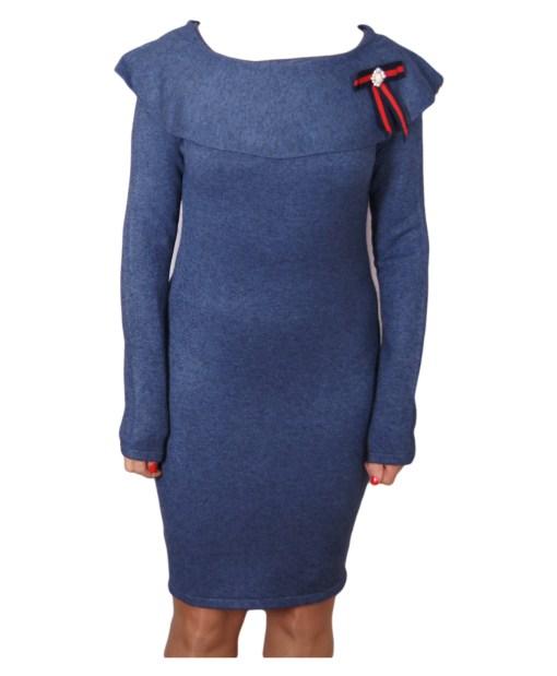 Дамска рокля 017-195-2 цвят син