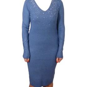 Дамска рокля 017-194-3 цвят светло син
