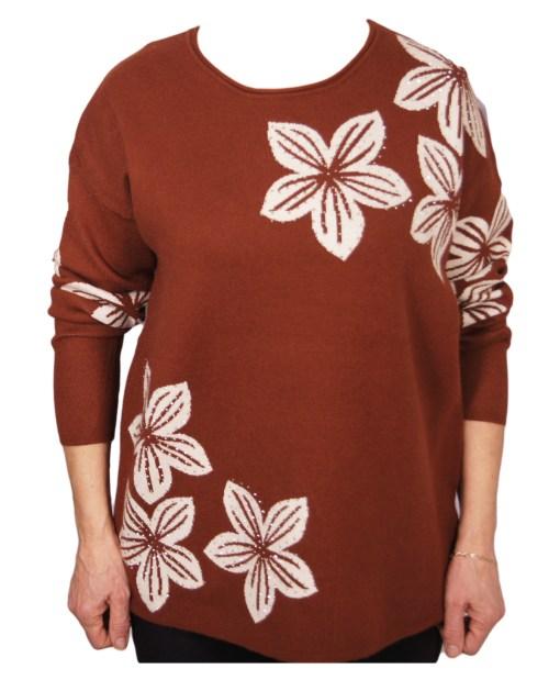 Дамски пуловер XL 2-394-2цвят кафяв