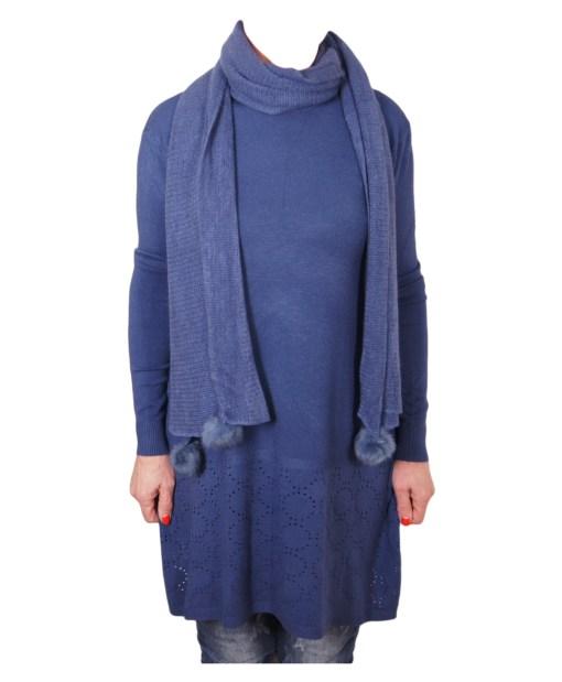 Дамски пуловер 2-389-52 цвят син