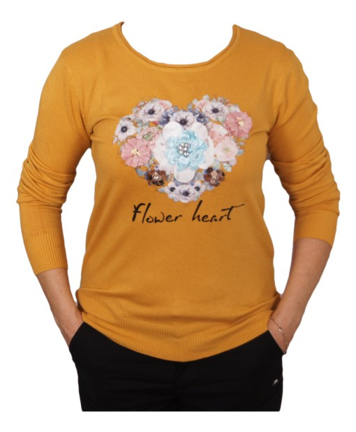 Дамски пуловер 2-390-74 цвят горчица
