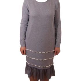 Дамска рокля 017-196-5 цвят сив