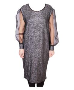 Дамска рокля XL 18-190-63 цвят сребро