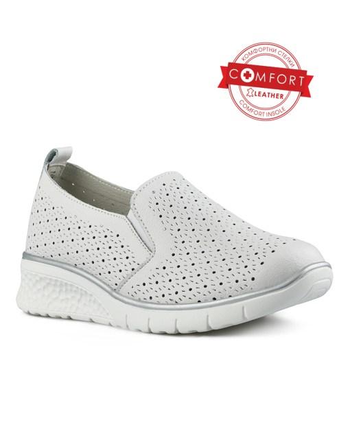 Дамски обувки естествена кожа 08-179-41 цвят бял