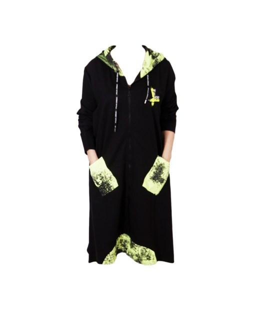 Дамска рокля XL 18-188-2 черна с акценти в зелено